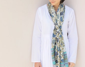 Hand Block Print Scarf Jaipur Block Print Beautiful Floral Stole Wrap Soft Cotton Sarong in Rapid Dye