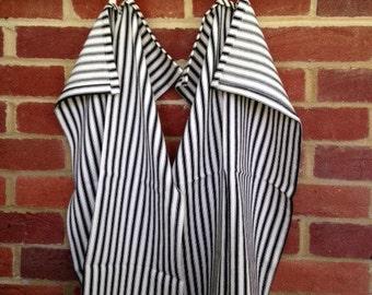 Set of 2 Cream & Black Striped Cotton Tea Towels