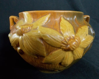 Vintage Roseville Jardiniere #667-4 in Autumn Brown -- Made in 1944 -- Reduced from 75 USD