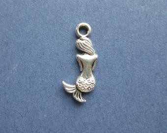 10 Mermaid Charms - Mermaid Pendants - Mermaid - Antique Silver - 20mm x 8mm -- (No.78-10348)