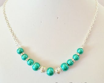 Jade Pearl Necklace Wedding Necklace Pearl Jewelry Bridesmaid Gift Jewelry Set Jade Jewelry Sparkly Necklace Jade Bridesmaid Beaded Necklace