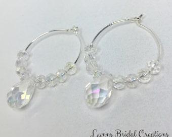 Clear Crystal Hoop Earrings Wedding Jewelry Crystal Jewelry Crystal Earrings Jewelry Set Bridesmaid Earrings Bridesmaid Gift Crystal Droplet