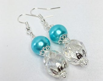 Blue Pearl Earrings Turquoise Earrings Bridesmaid Gift Crystal Jewelry Wedding Jewelry Mother of the Bride Turquoise Pearl Jewelry