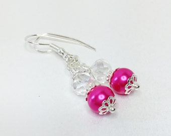 Pink Pearl Earrings Hot Pink Earrings Bridesmaid Gift Wedding Jewelry Pink Jewelry Crystal Earrings Bridesmaid Jewelry Fuchsia Earrings