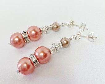Peach Bridesmaid Earrings Pearl Earrings Wedding Set Bridesmaid Gift Peach Jewelry Beaded Earrings Bridesmaid Earrings Peach Bridesmaid