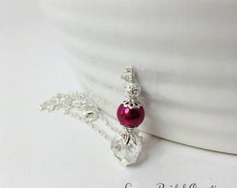 Deep Red Pearl Wedding Necklace Crystal Necklace Wedding Set Bridesmaid Jewelry Red Wedding Crystal Jewelry Wedding Jewelry Crystal & Pearl