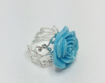 Baby Blue Flower Ring Resin Flower Ring Filigree Adjustable Ring Bridesmaid Gift Wedding Accessory Wedding Jewelry Blue Flower Ring