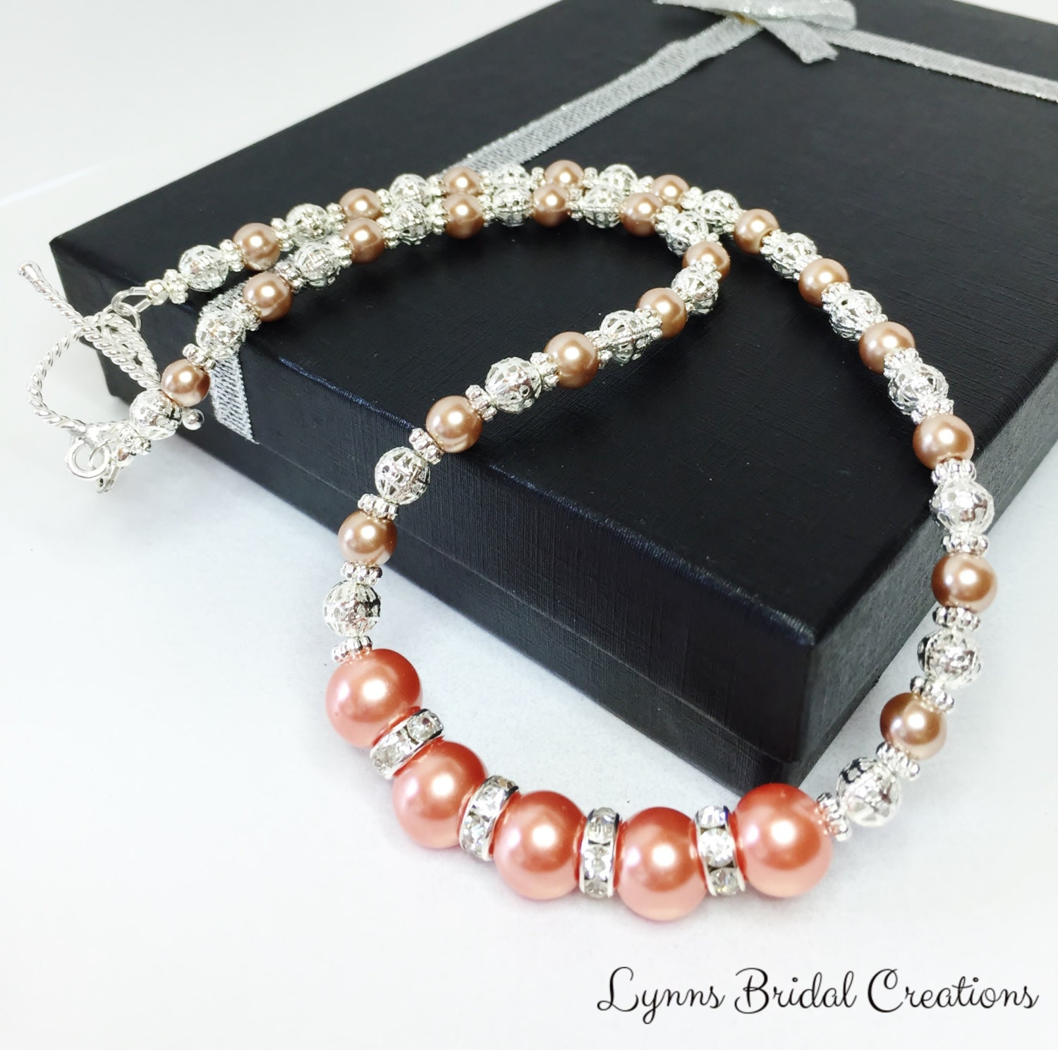 Peach Pearl Necklace: Peach Pearl Necklace Gold Necklace Wedding Set Bridesmaid