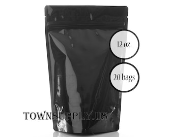 20 - 12 oz black stand up pouches, foil lined black storage bags, food grade packaging, resealable ziplock package, DIY favor bags