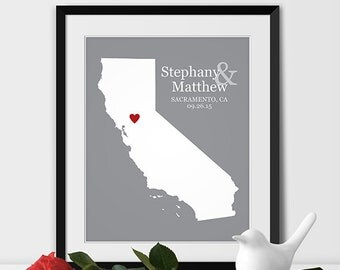 California State Map Art, Sacramento Wedding Gift for Couples Anniversary Gift Personalized Couples Gift for Her California Gift - Any STATE