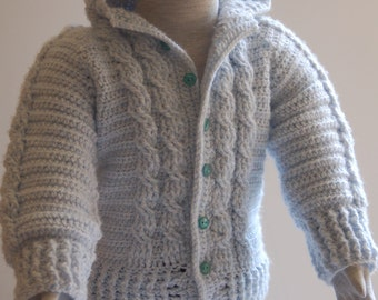 Cable Hooded Sweater.
