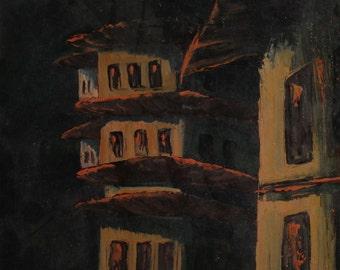 Vintage landscape oil painting house