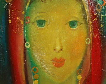 1997 Abstract girl portrait oil painting signed