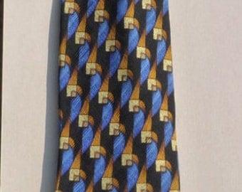 KOLTE silk tie gold and blue geometric grid