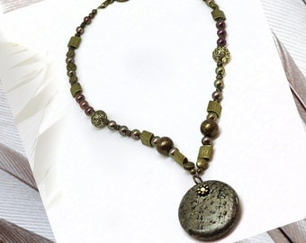 Pyrite Pendant, 17in Necklace