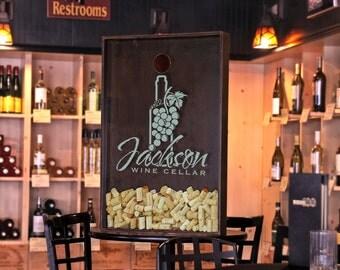 24x36 Wine Cork Box / Wall Decor / Personalized Art / Custom Family Name / Winery / Vineyard