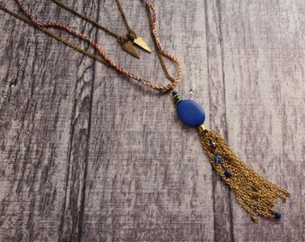 Boho Chic Blue Long and Layered necklace