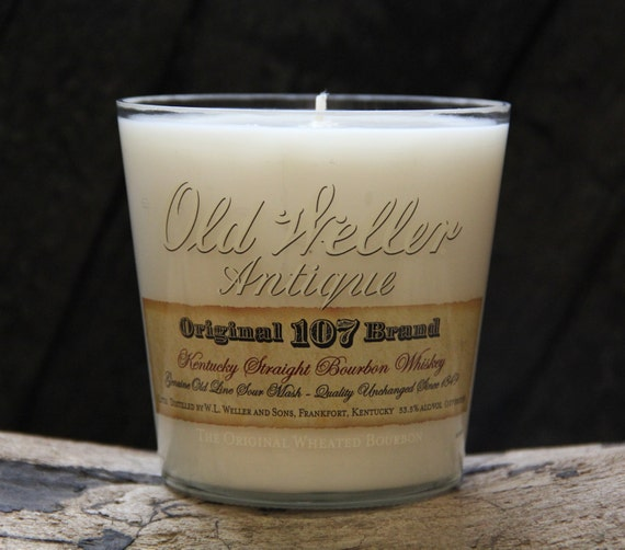Upcycled Old Weller Whiskey Candle - Recycled Bourbon Bottle Candle Handmade Soy Candle 1 Liter Recycled Glass Bottle 22oz Soy Wax