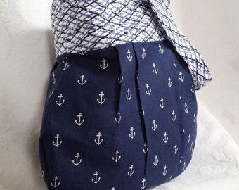 Blue anchors with nautical netting handbag (Maine Made)