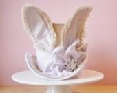 mini top hat, beatrix potter, alice in wonder land, fiber art, bunny ears, shabby chic, Nursery art, home decor, Peter rabbit, bunny,