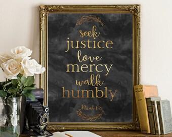 Gold foil printable Scripture seek justice love mercy printable verses wall art print inspirational motivational quote bible verse art