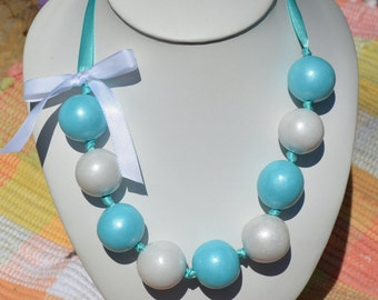 Jumbo Gumball Necklace Blue and White with Ribbon Bow
