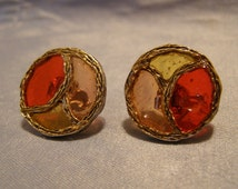 Abstract STAINED GLASS design Cufflinks w Cherry Red, Peach & Golden Yellow panels in goldtone Finish - vintage Jewelry Anniversary gift