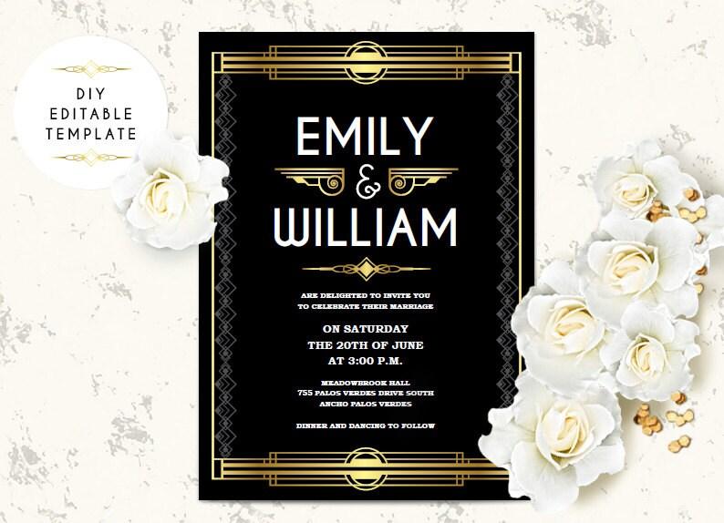 Great Gatsby Wedding Invitation: Wedding Invitation Template. Great Gatsby Wedding Invitation