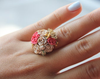 Roses Bouquet Ring - Spring Summer Fashion Flower Ring from Polymer Clay