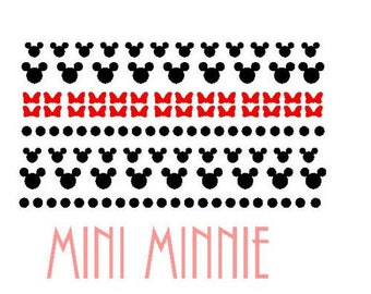 Minnie Vinyl Nail Stickers.  Includes Red Bows  Ships In 3-5 business days.