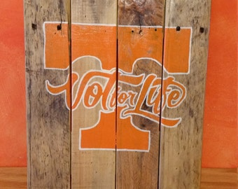 "Rustic Tennessee Vols ""Vol For Life"" Reclaimed Pallet Sign"