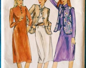 "Vintage 1980's dress jacket vest sewing pattern - Butterick 3350 - size 16 (38"" bust) - 1980s"