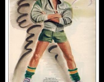 Martin Hoffman Illustration Playboy Vintage Fashion Sports Pinup August 1981 Pinup Wall Art Deco Print