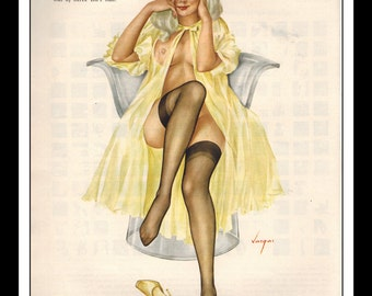 """Vargas Playboy Pinup Girl Vintage October 1968 """"two out of three"""" Sexy Blonde Nude Mature Yellow Negligee Pinup Wall Art Deco Print"""