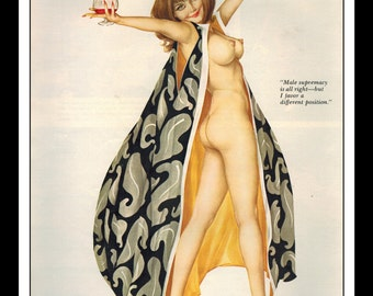 """Vargas Playboy Pinup Girl Vintage May 1971 """"Different Position"""" Sexy Brunette Wine Nude Mature Wall Art Deco Print"""
