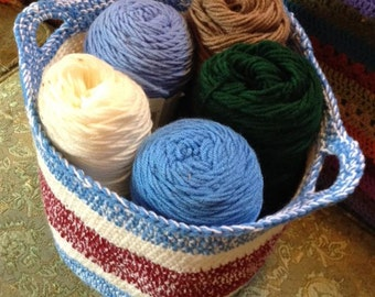 Large handmade crocheted basket