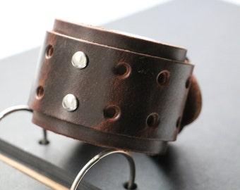 Men's bracelet, Wide wristband bracelet, Leather cuff bracelet , Brown leather Bracelet, Bracelet for men