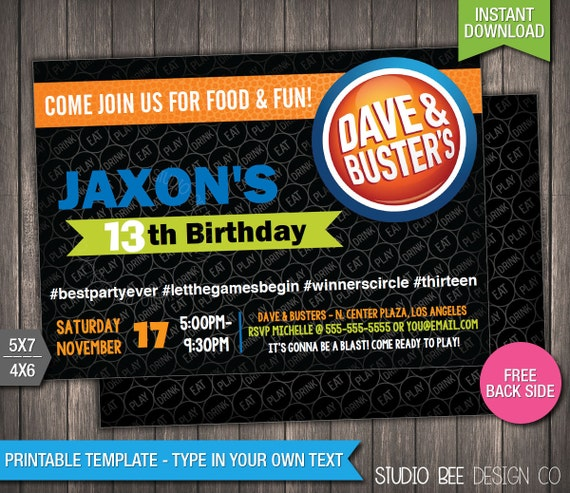 Dave And Busters Birthday Invitation INSTANT By