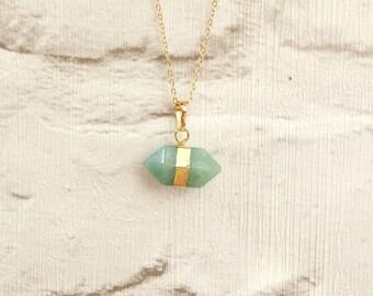 Gold Wrapped Hexagon Aventurine Pendant Necklace
