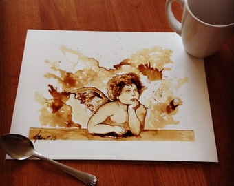 Angel coffee painting