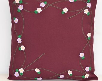 Cherry-colored fabric Flowers Pillow Cover Handmade 16x16""