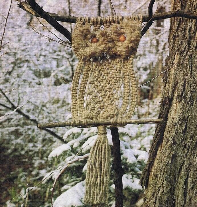 Vintage Macrame Pattern 1970s To Make A Large Owl Tree Garden