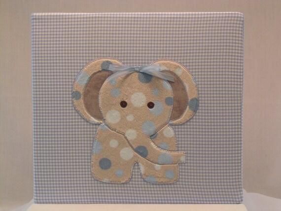 12x12 Postbound Fabric Scrapbook Photo Album Memory Book Baby Boy Shower Light Blue Elephant Zoo Gingham Applique AO73 Album Outfitters