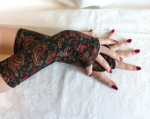 Black red floral  bohemian gypsy tribal armwarmers fingerless gloves