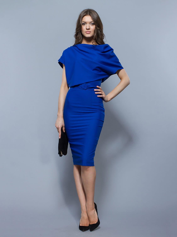 elegant cobalt blue dress knee length formal by