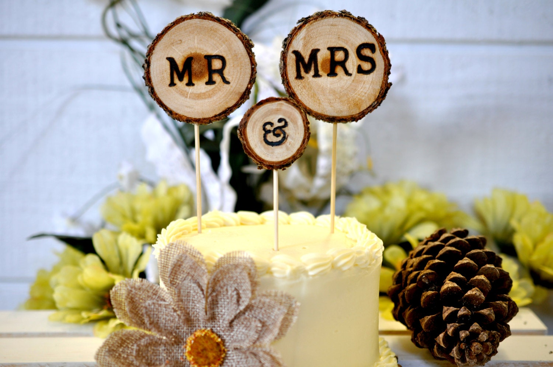 Rustic Wood Cake Topper 3pcs Wedding Cake Decorations