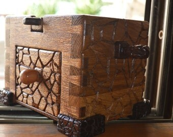 wooden carved jewellery box