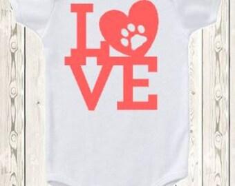 Animal ONESIE ® brand bodysuit or shirt Dog lover Cat lover Animal lover bodysuit Love pawprint unique new baby gift baby shower gift