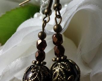 Chocolate Globe Earrings