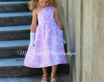 Girls pink damask dress- Princess dress- Girls dress